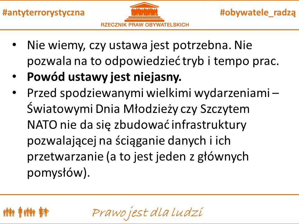  P Prawo jest dla ludzi #obywatele_radzą#antyterrorystyczna Nie wiemy, czy ustawa jest potrzebna.