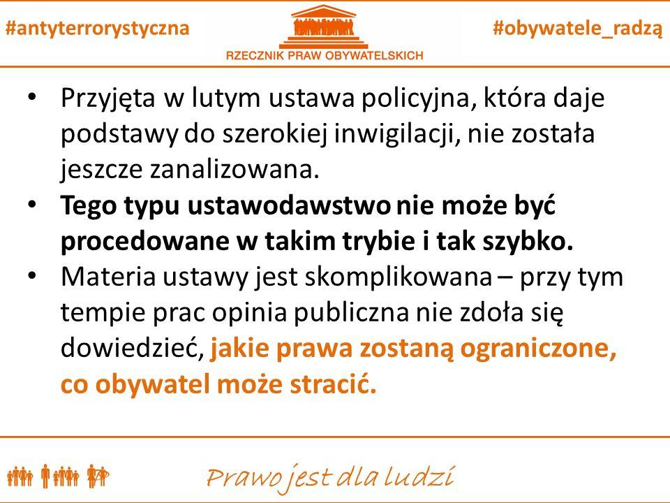  P Prawo jest dla ludzi #obywatele_radzą#antyterrorystyczna Przyjęta w lutym ustawa policyjna, która daje podstawy do szerokiej inwigilacji, nie została jeszcze zanalizowana.