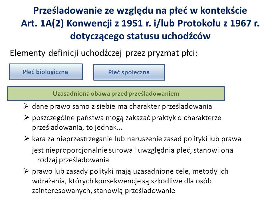 Prześladowanie ze względu na płeć w kontekście Art. 1A(2) Konwencji z 1951 r. i/lub Protokołu z 1967 r. dotyczącego statusu uchodźców Elementy definic