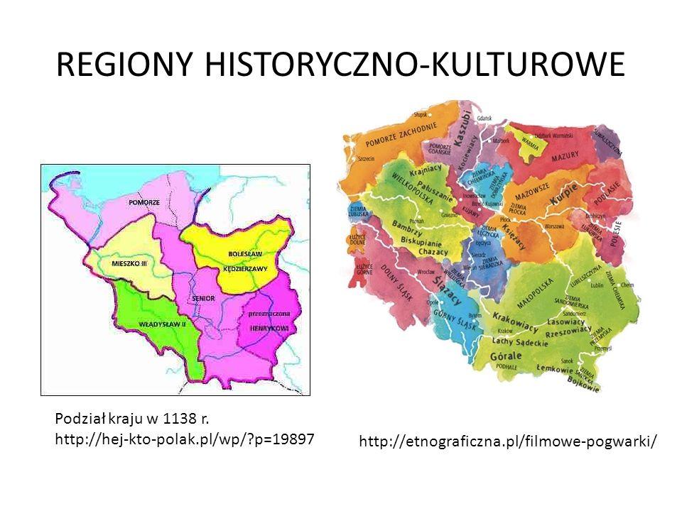 REGIONY HISTORYCZNO-KULTUROWE Podział kraju w 1138 r. http://hej-kto-polak.pl/wp/?p=19897 http://etnograficzna.pl/filmowe-pogwarki/
