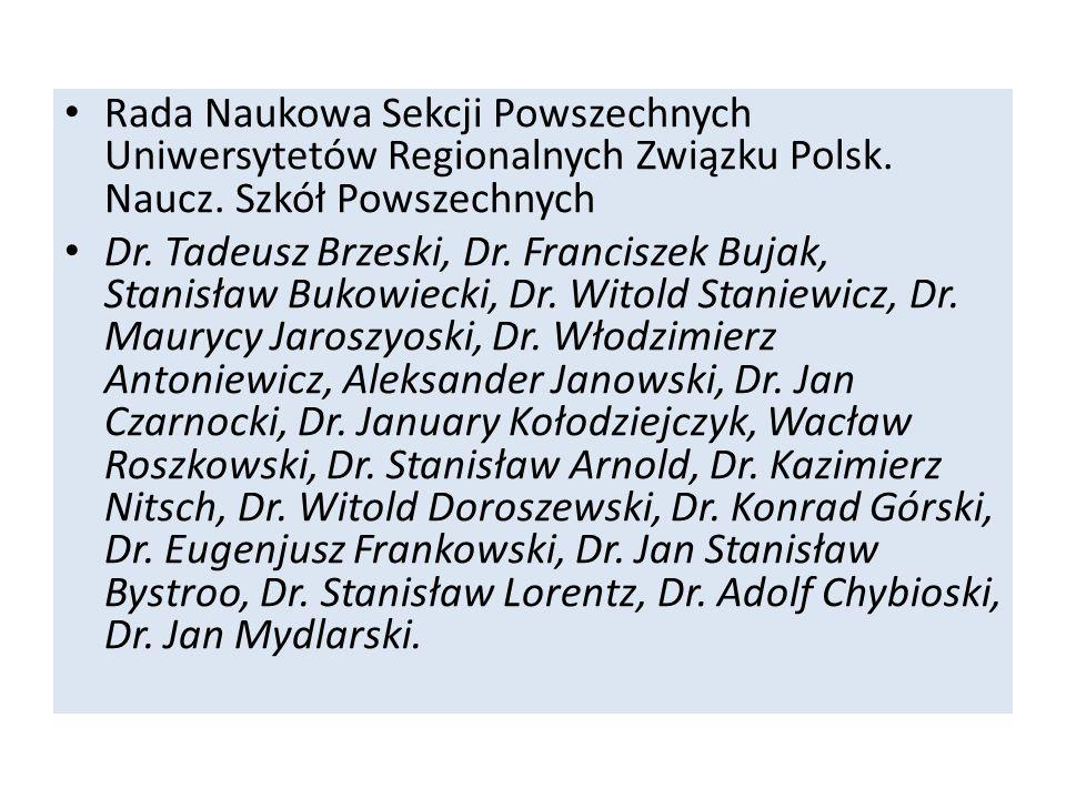 Rada Naukowa Sekcji Powszechnych Uniwersytetów Regionalnych Związku Polsk. Naucz. Szkół Powszechnych Dr. Tadeusz Brzeski, Dr. Franciszek Bujak, Stanis