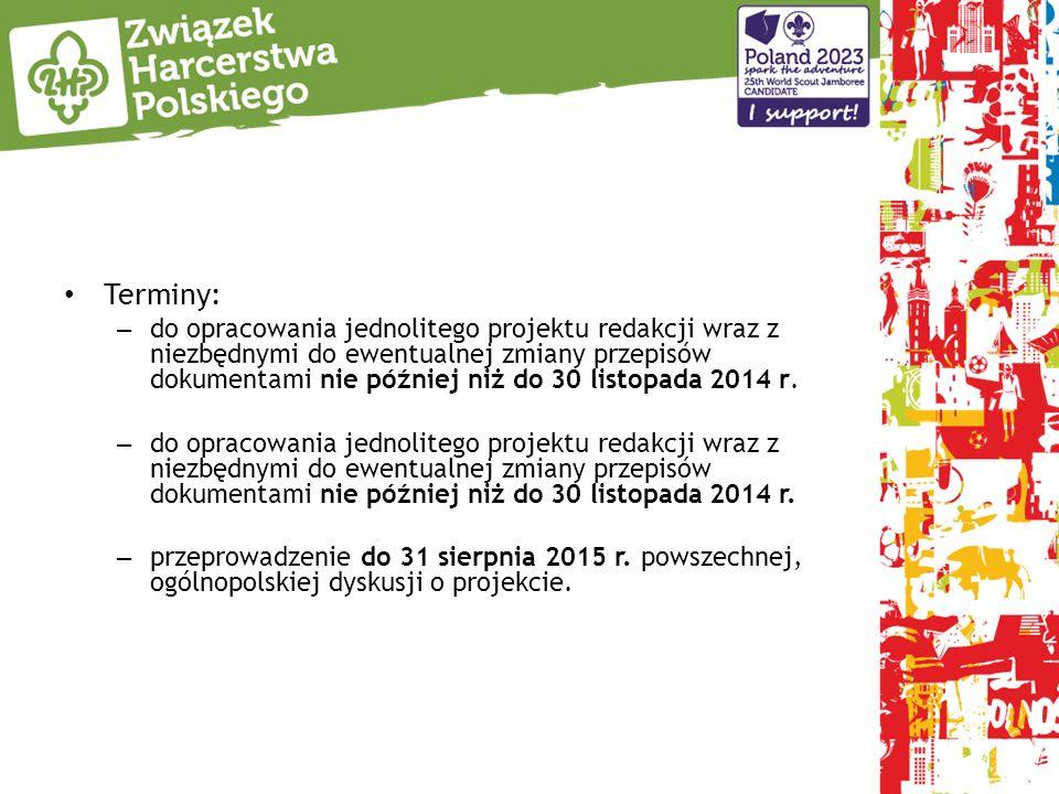 Terminy: – do opracowania jednolitego projektu redakcji wraz z niezbędnymi do ewentualnej zmiany przepisów dokumentami nie później niż do 30 listopada 2014 r.