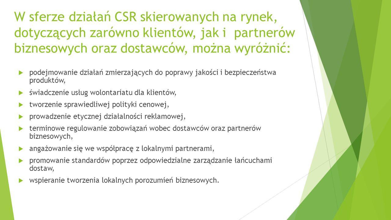 W sferze działań CSR skierowanych na rynek, dotyczących zarówno klientów, jak i partnerów biznesowych oraz dostawców, można wyróżnić:  podejmowanie działań zmierzających do poprawy jakości i bezpieczeństwa produktów,  świadczenie usług wolontariatu dla klientów,  tworzenie sprawiedliwej polityki cenowej,  prowadzenie etycznej działalności reklamowej,  terminowe regulowanie zobowiązań wobec dostawców oraz partnerów biznesowych,  angażowanie się we współpracę z lokalnymi partnerami,  promowanie standardów poprzez odpowiedzialne zarządzanie łańcuchami dostaw,  wspieranie tworzenia lokalnych porozumień biznesowych.
