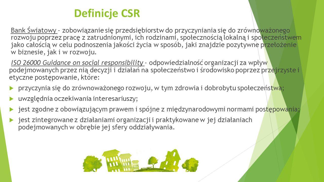 Definicje CSR Bank Światowy - zobowiązanie się przedsiębiorstw do przyczyniania się do zrównoważonego rozwoju poprzez pracę z zatrudnionymi, ich rodzinami, społecznością lokalną i społeczeństwem jako całością w celu podnoszenia jakości życia w sposób, jaki znajdzie pozytywne przełożenie w biznesie, jak i w rozwoju.