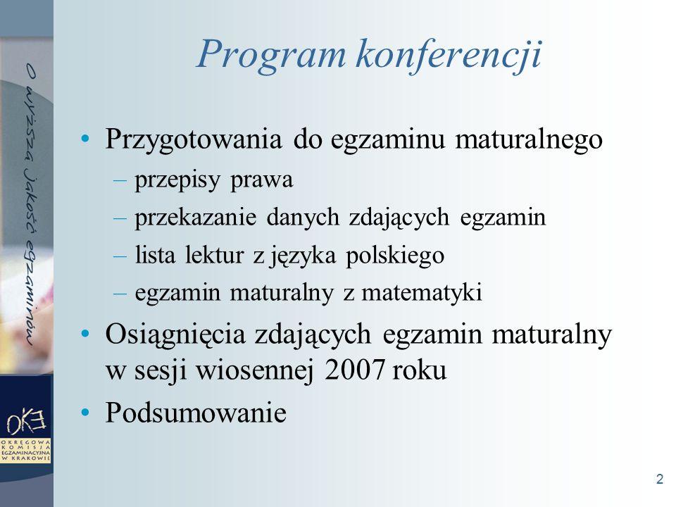 2 Program konferencji Przygotowania do egzaminu maturalnego –przepisy prawa –przekazanie danych zdających egzamin –lista lektur z języka polskiego –egzamin maturalny z matematyki Osiągnięcia zdających egzamin maturalny w sesji wiosennej 2007 roku Podsumowanie
