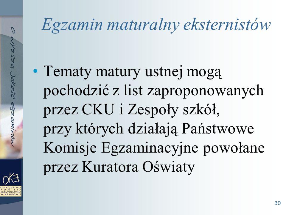 30 Egzamin maturalny eksternistów Tematy matury ustnej mogą pochodzić z list zaproponowanych przez CKU i Zespoły szkół, przy których działają Państwowe Komisje Egzaminacyjne powołane przez Kuratora Oświaty