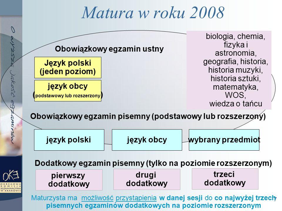 7 Matura w roku 2008 język polskijęzyk obcywybrany przedmiot Obowiązkowy egzamin pisemny (podstawowy lub rozszerzony) Dodatkowy egzamin pisemny (tylko na poziomie rozszerzonym) pierwszy dodatkowy drugi dodatkowy trzeci dodatkowy Język polski (jeden poziom) język obcy ( podstawowy lub rozszerzony ) Obowiązkowy egzamin ustny biologia, chemia, fizyka i astronomia, geografia, historia, historia muzyki, historia sztuki, matematyka, WOS, wiedza o tańcu Maturzysta ma możliwość przystąpienia w danej sesji do co najwyżej trzech pisemnych egzaminów dodatkowych na poziomie rozszerzonym