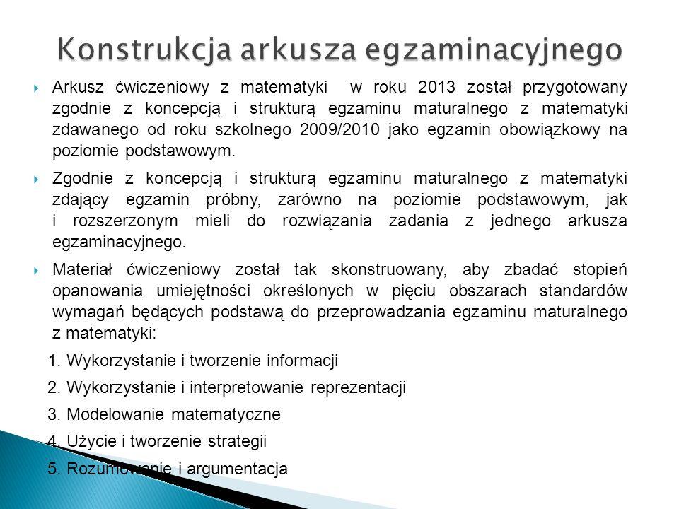 Konstrukcja arkusza egzaminacyjnego  Arkusz ćwiczeniowy z matematyki w roku 2013 został przygotowany zgodnie z koncepcją i strukturą egzaminu matural