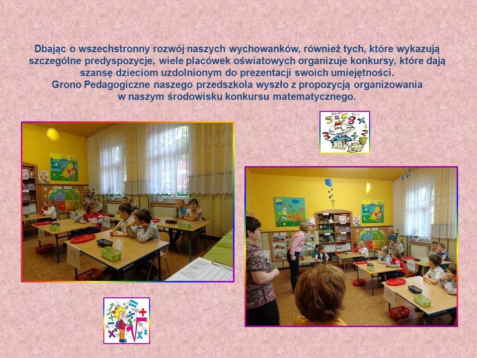 """Konkurs matematyczny """"Łamigłówki matematycznej główki Wiek przedszkolny to okres rozwojowy, w którym dziecko po raz pierwszy jest poddane wielorakim oddziaływaniom w sposób zorganizowany, zamierzony, celowy, planowy i systematyczny."""