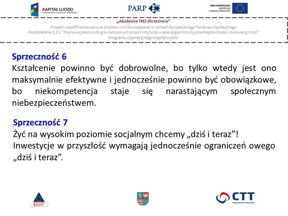 """"""" Akademia TRIZ dla biznesu Projekt współfinansowany ze środków Unii Europejskiej w ramach Europejskiego Funduszu Społecznego Poddziałanie 2.2.1 Poprawa jakości usług świadczonych przez instytucje wspierające rozwój przedsiębiorczości i innowacyjności Programu Operacyjnego Kapitał Ludzki Sprzeczność 6 Kształcenie powinno być dobrowolne, bo tylko wtedy jest ono maksymalnie efektywne i jednocześnie powinno być obowiązkowe, bo niekompetencja staje się narastającym społecznym niebezpieczeństwem."""