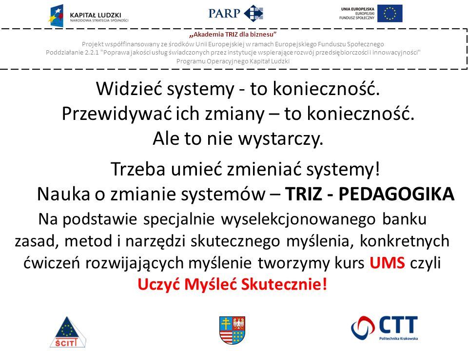 """"""" Akademia TRIZ dla biznesu Projekt współfinansowany ze środków Unii Europejskiej w ramach Europejskiego Funduszu Społecznego Poddziałanie 2.2.1 Poprawa jakości usług świadczonych przez instytucje wspierające rozwój przedsiębiorczości i innowacyjności Programu Operacyjnego Kapitał Ludzki Widzieć systemy - to konieczność."""