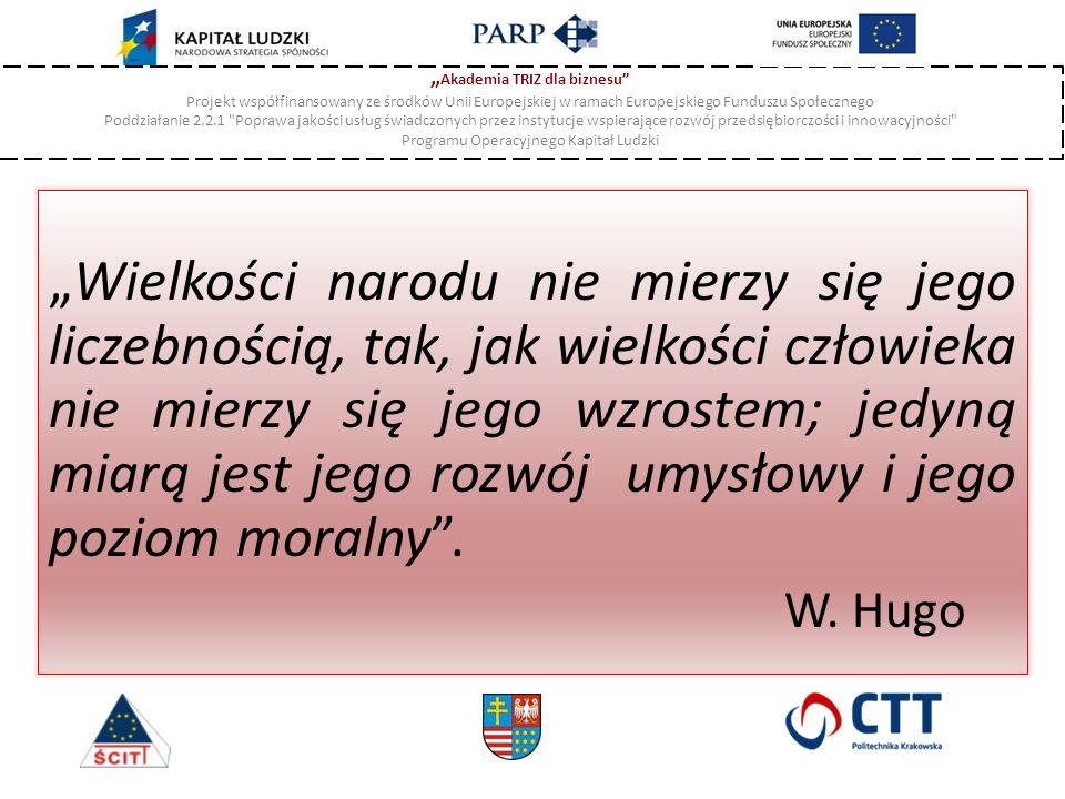 """"""" Akademia TRIZ dla biznesu Projekt współfinansowany ze środków Unii Europejskiej w ramach Europejskiego Funduszu Społecznego Poddziałanie 2.2.1 Poprawa jakości usług świadczonych przez instytucje wspierające rozwój przedsiębiorczości i innowacyjności Programu Operacyjnego Kapitał Ludzki """"Wielkości narodu nie mierzy się jego liczebnością, tak, jak wielkości człowieka nie mierzy się jego wzrostem; jedyną miarą jest jego rozwój umysłowy i jego poziom moralny ."""