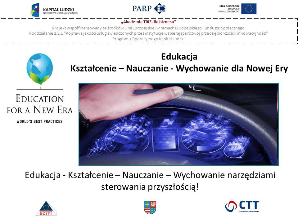 """"""" Akademia TRIZ dla biznesu Projekt współfinansowany ze środków Unii Europejskiej w ramach Europejskiego Funduszu Społecznego Poddziałanie 2.2.1 Poprawa jakości usług świadczonych przez instytucje wspierające rozwój przedsiębiorczości i innowacyjności Programu Operacyjnego Kapitał Ludzki Edukacja Kształcenie – Nauczanie - Wychowanie dla Nowej Ery Edukacja - Kształcenie – Nauczanie – Wychowanie narzędziami sterowania przyszłością!"""