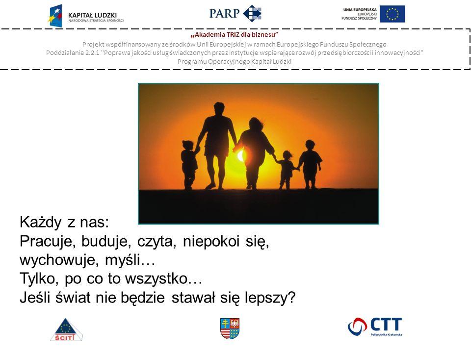 """"""" Akademia TRIZ dla biznesu Projekt współfinansowany ze środków Unii Europejskiej w ramach Europejskiego Funduszu Społecznego Poddziałanie 2.2.1 Poprawa jakości usług świadczonych przez instytucje wspierające rozwój przedsiębiorczości i innowacyjności Programu Operacyjnego Kapitał Ludzki Każdy z nas: Pracuje, buduje, czyta, niepokoi się, wychowuje, myśli… Tylko, po co to wszystko… Jeśli świat nie będzie stawał się lepszy"""