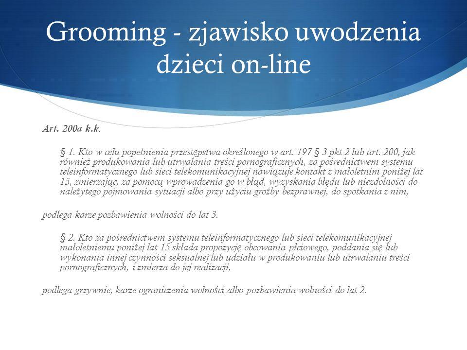 Grooming - zjawisko uwodzenia dzieci on-line Art. 200a k.k.