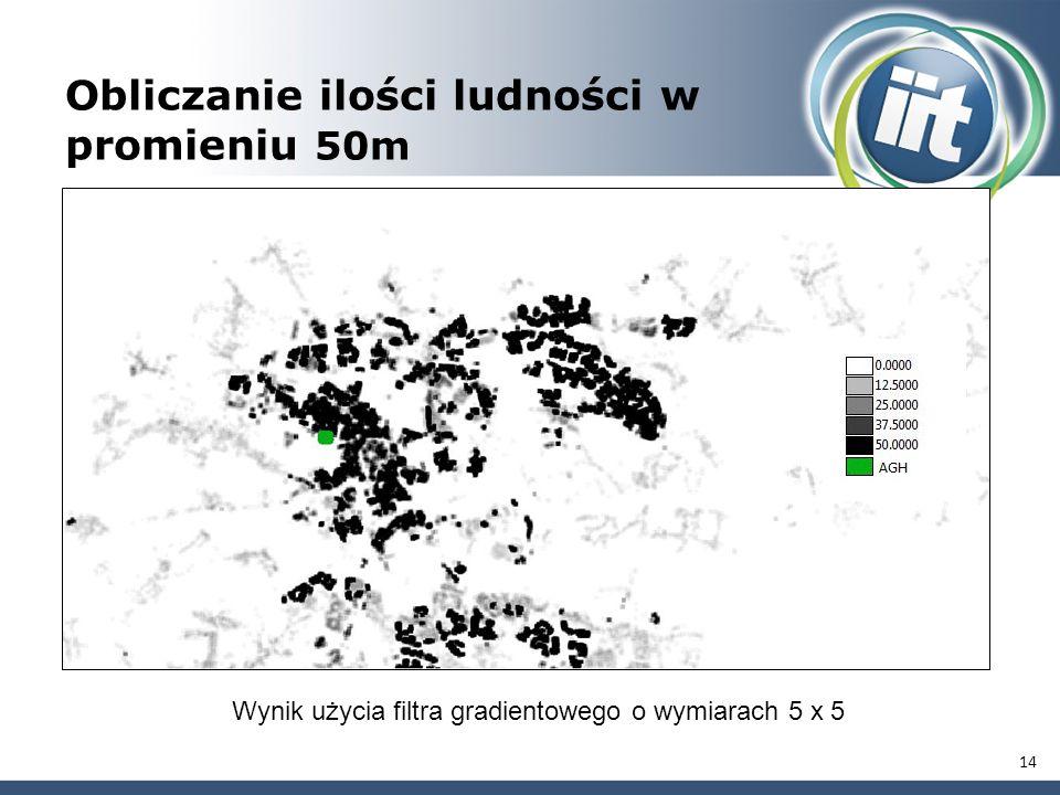 14 Obliczanie ilości ludności w promieniu 50m Wynik użycia filtra gradientowego o wymiarach 5 x 5
