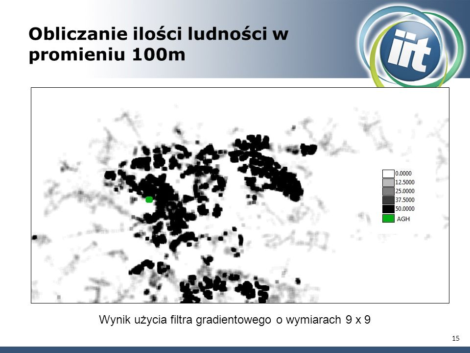 Obliczanie ilości ludności w promieniu 100m 15 Wynik użycia filtra gradientowego o wymiarach 9 x 9