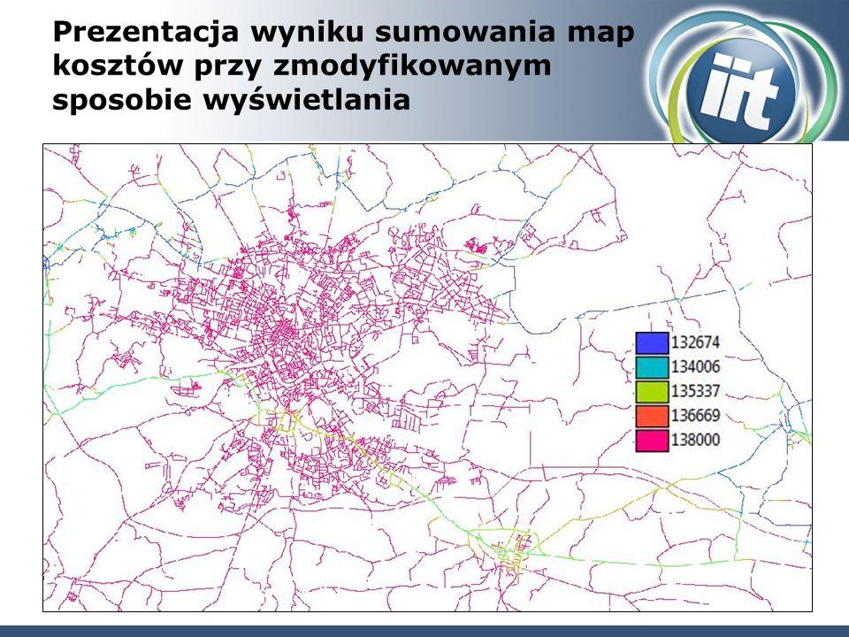 Prezentacja wyniku sumowania map kosztów przy zmodyfikowanym sposobie wyświetlania