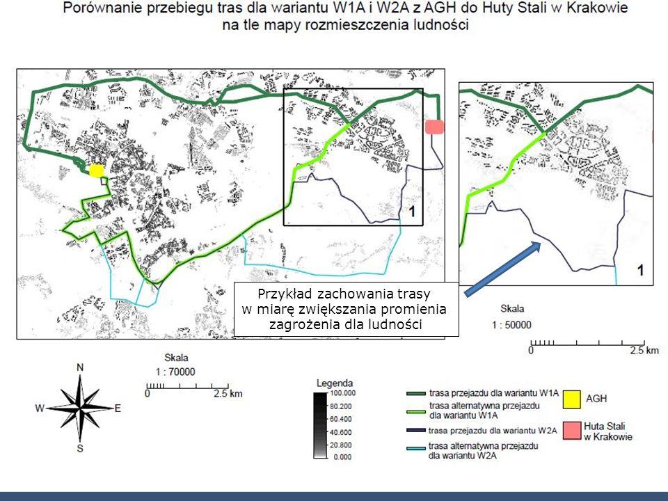 Przykład zachowania trasy w miarę zwiększania promienia zagrożenia dla ludności