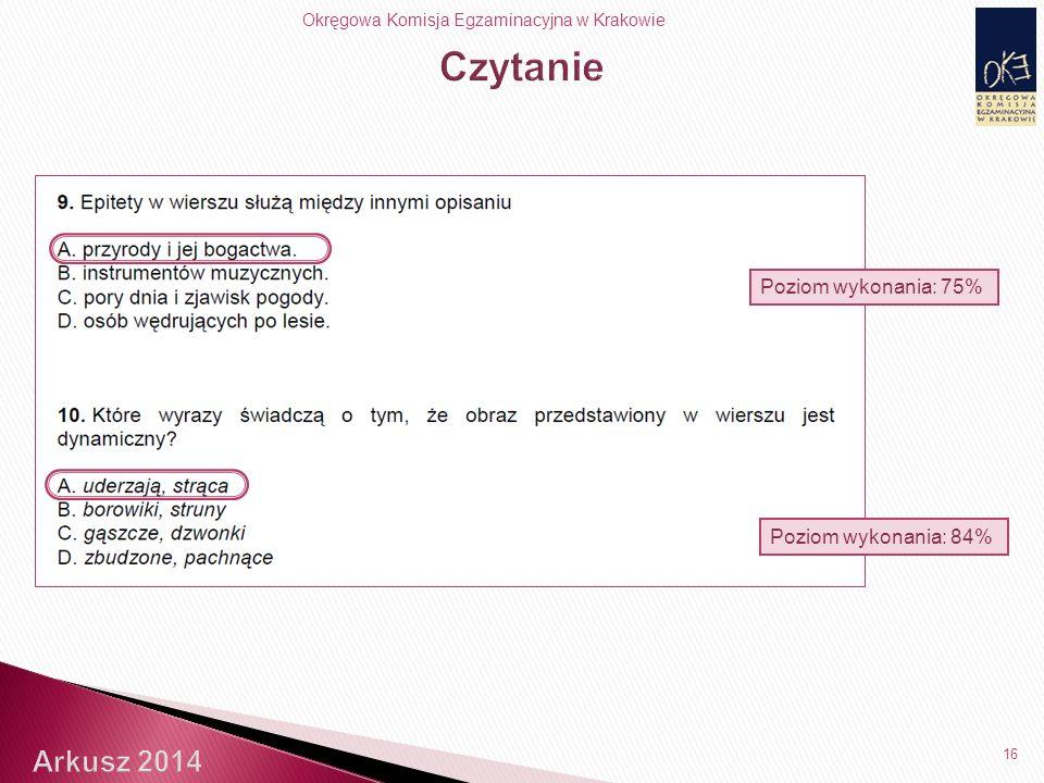 Okręgowa Komisja Egzaminacyjna w Krakowie 16 Poziom wykonania: 84% Poziom wykonania: 75%