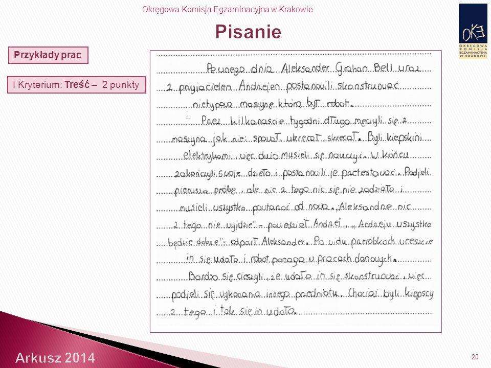Okręgowa Komisja Egzaminacyjna w Krakowie 20 Przykłady prac I Kryterium: Treść – 2 punkty