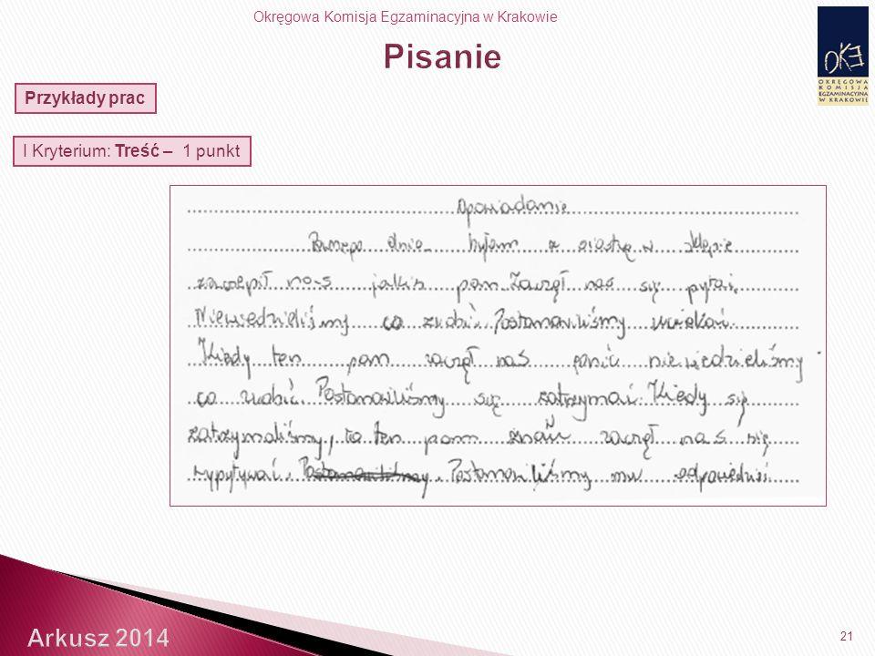 Okręgowa Komisja Egzaminacyjna w Krakowie 21 Przykłady prac I Kryterium: Treść – 1 punkt