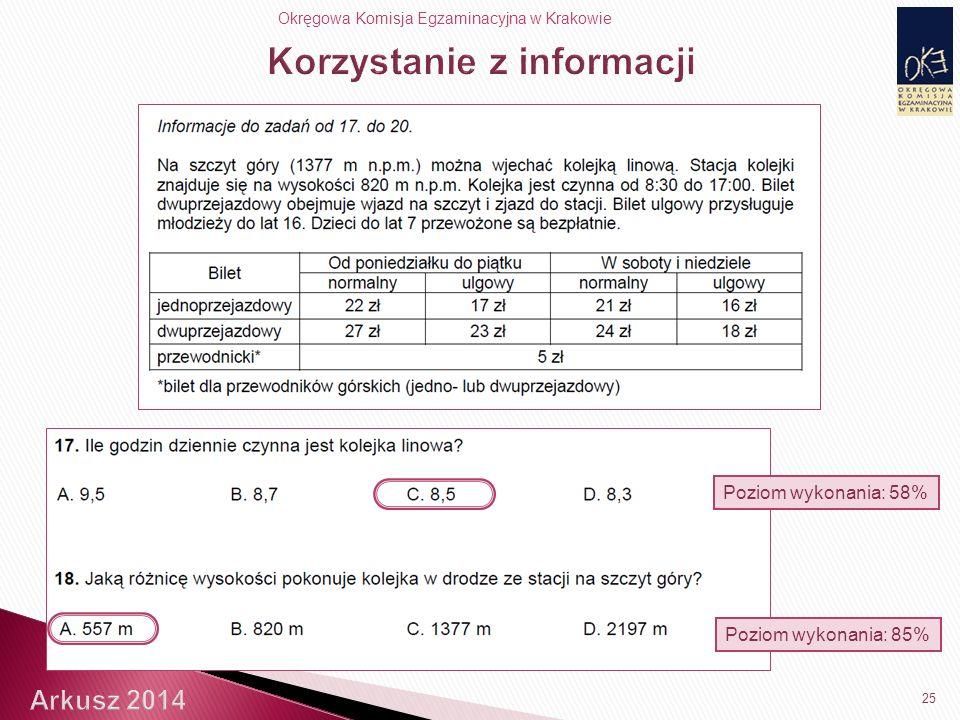 Okręgowa Komisja Egzaminacyjna w Krakowie 25 Poziom wykonania: 58% Poziom wykonania: 85%