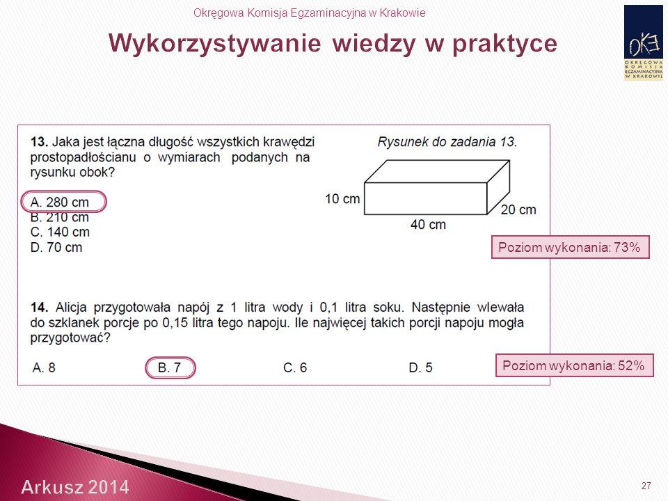 Okręgowa Komisja Egzaminacyjna w Krakowie 27 Poziom wykonania: 52% Poziom wykonania: 73%