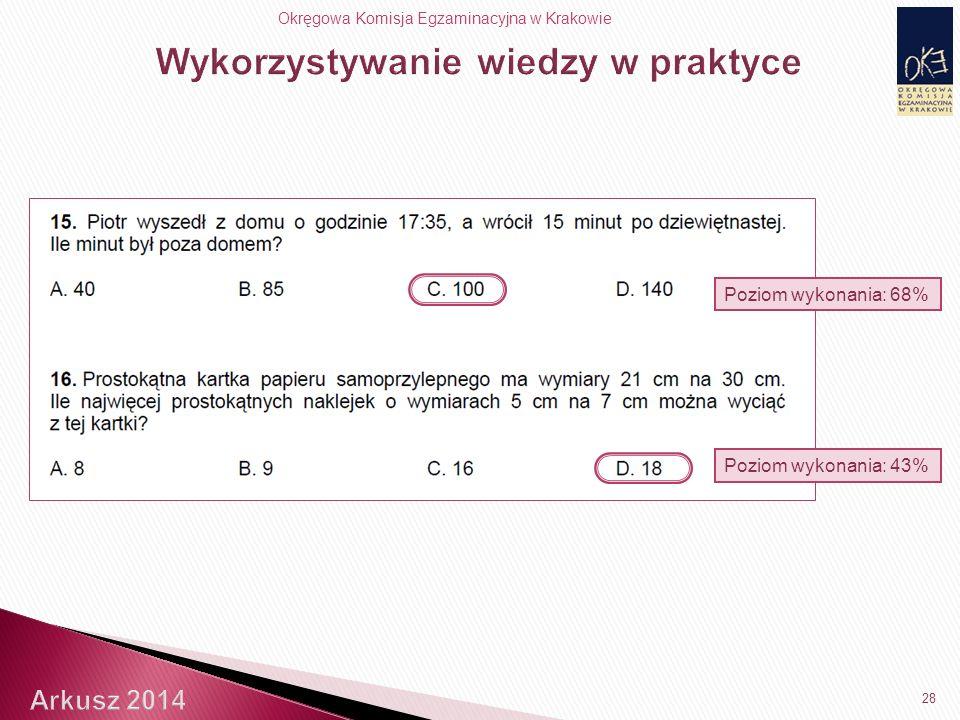 Okręgowa Komisja Egzaminacyjna w Krakowie Poziom wykonania: 68% 28 Poziom wykonania: 43%