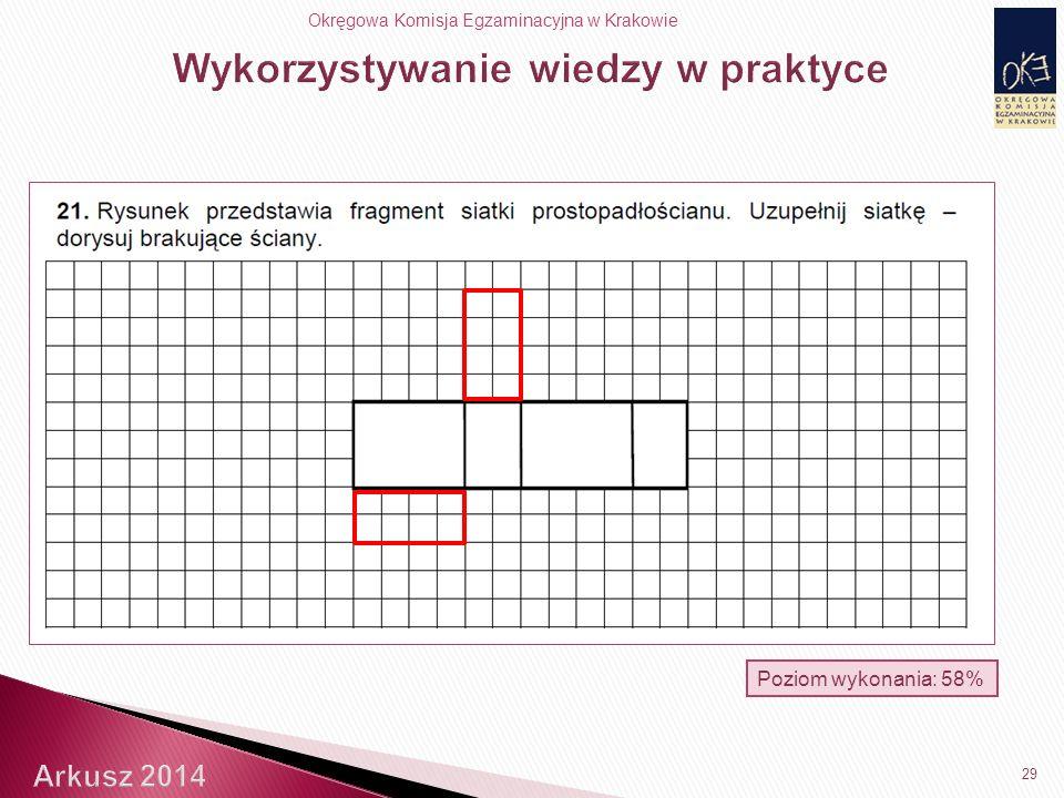 Okręgowa Komisja Egzaminacyjna w Krakowie Poziom wykonania: 58% 29