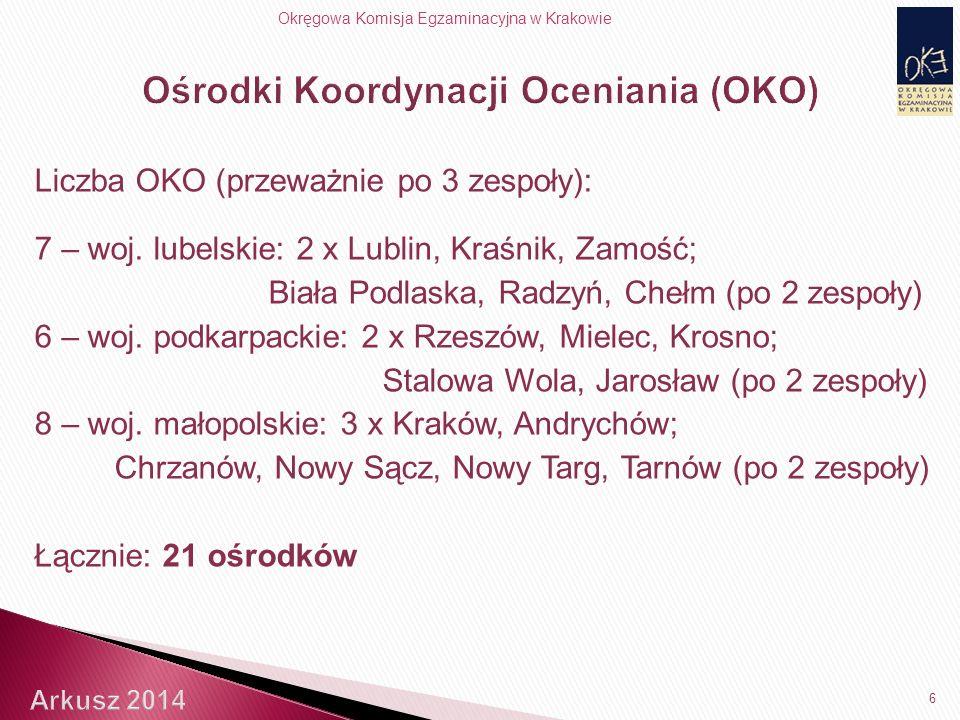 Okręgowa Komisja Egzaminacyjna w Krakowie Liczba OKO (przeważnie po 3 zespoły): 7 – woj.