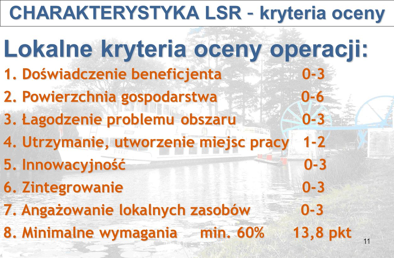 11 CHARAKTERYSTYKA LSR – kryteria oceny CHARAKTERYSTYKA LSR – kryteria oceny Lokalne kryteria oceny operacji: 1.