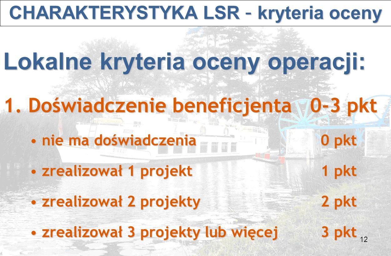12 CHARAKTERYSTYKA LSR – kryteria oceny CHARAKTERYSTYKA LSR – kryteria oceny Lokalne kryteria oceny operacji: 1.
