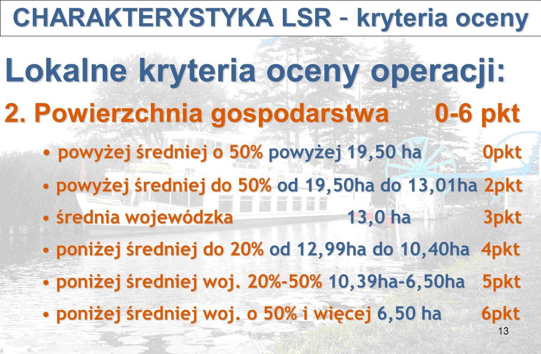 13 CHARAKTERYSTYKA LSR – kryteria oceny CHARAKTERYSTYKA LSR – kryteria oceny Lokalne kryteria oceny operacji: 2.