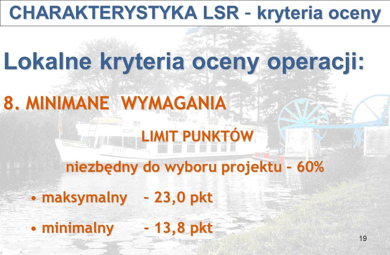 19 CHARAKTERYSTYKA LSR – kryteria oceny CHARAKTERYSTYKA LSR – kryteria oceny Lokalne kryteria oceny operacji: 8.