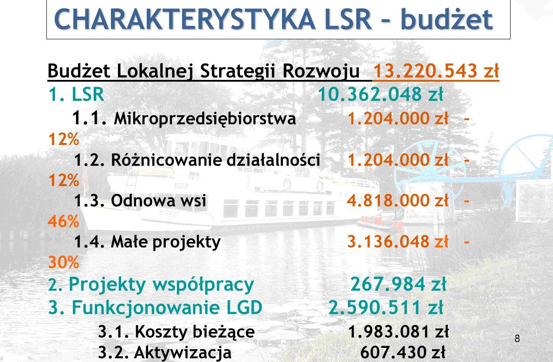 8 Budżet Lokalnej Strategii Rozwoju 13.220.543 zł 1.