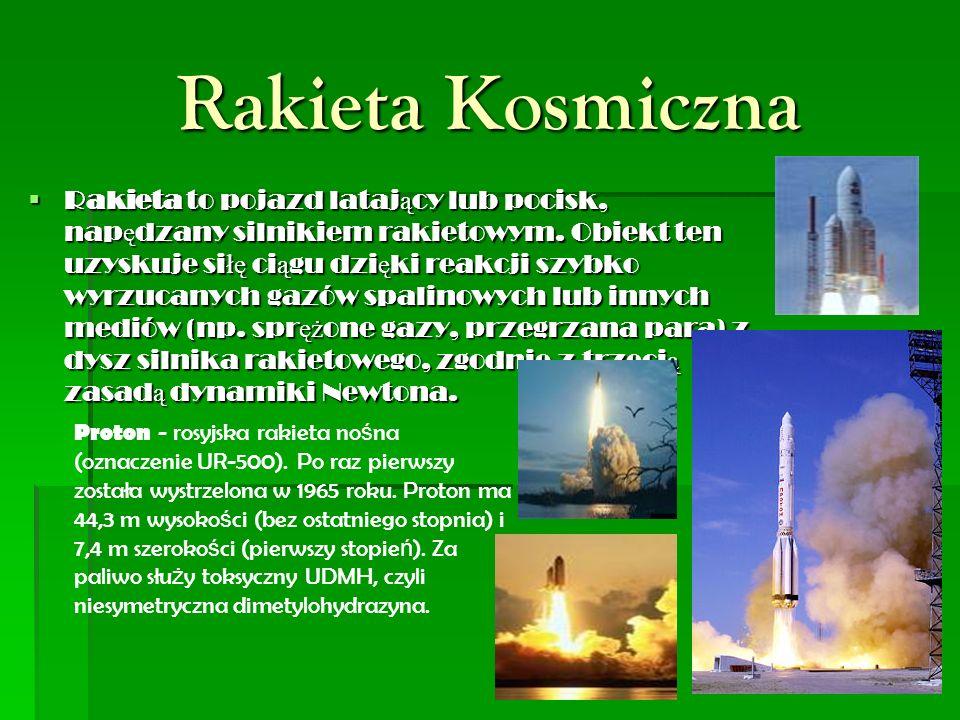 Rakieta Kosmiczna  Rakieta to pojazd lataj ą cy lub pocisk, nap ę dzany silnikiem rakietowym.