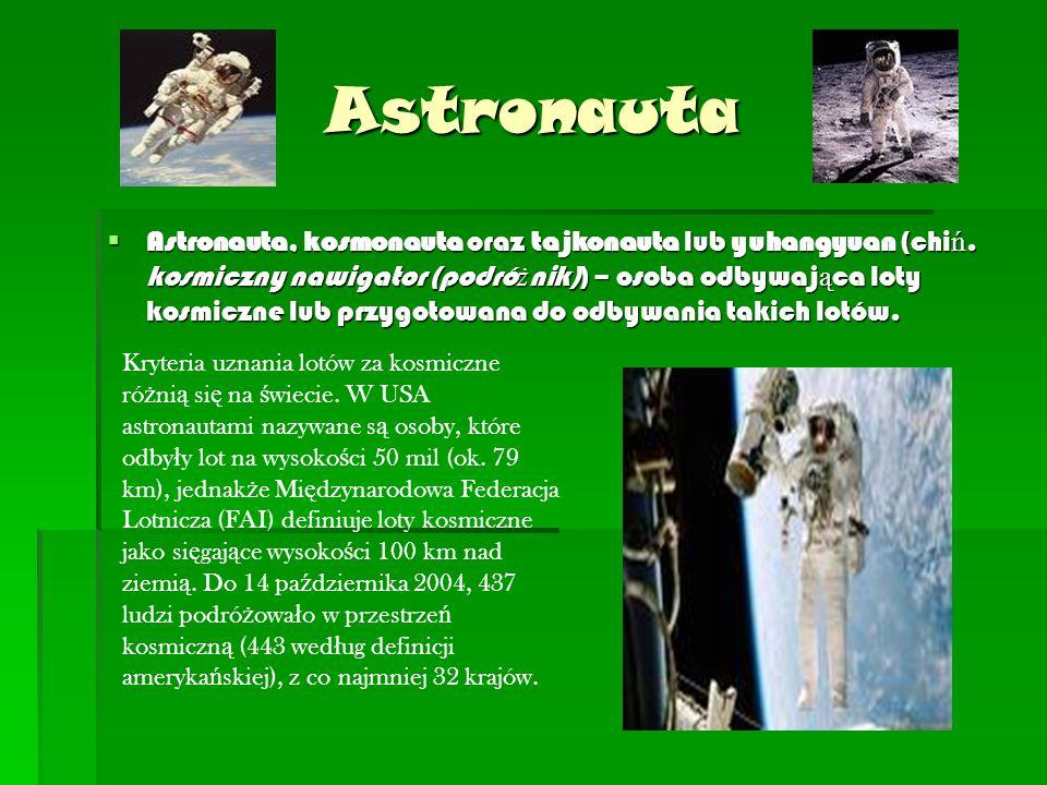 Astronauta  Astronauta, kosmonauta oraz tajkonauta lub yuhangyuan (chi ń.