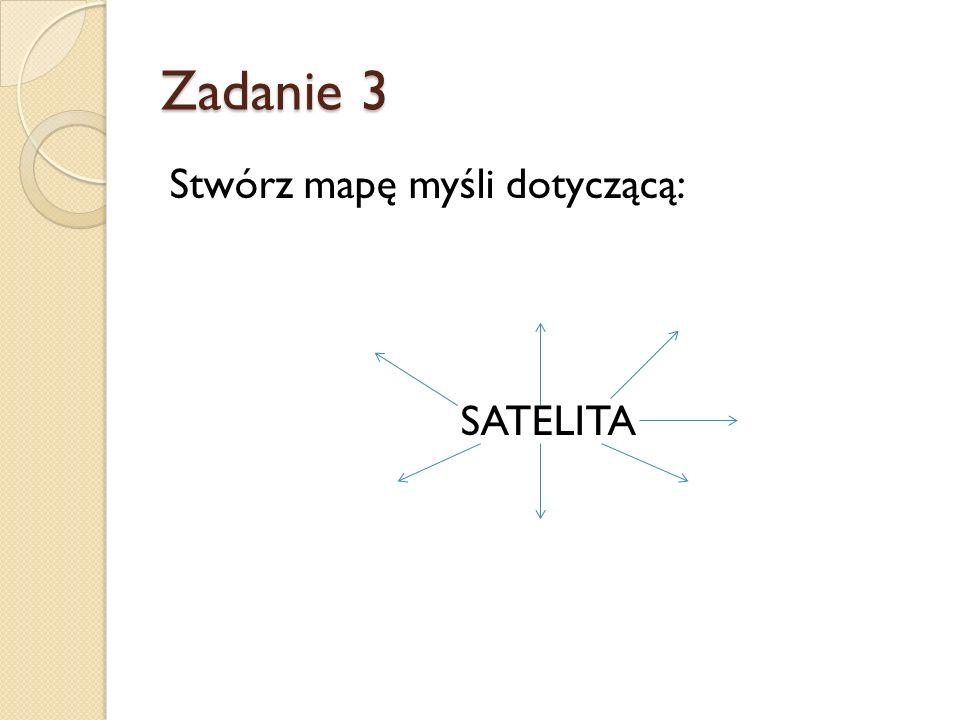 Zadanie 3 Stwórz mapę myśli dotyczącą: SATELITA