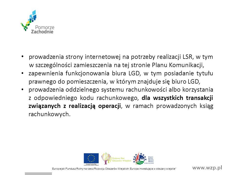 """www.wzp.p l Europejski Fundusz Rolny na rzecz Rozwoju Obszarów Wiejskich: Europa inwestująca w obszary wiejskie"""" prowadzenia strony internetowej na po"""