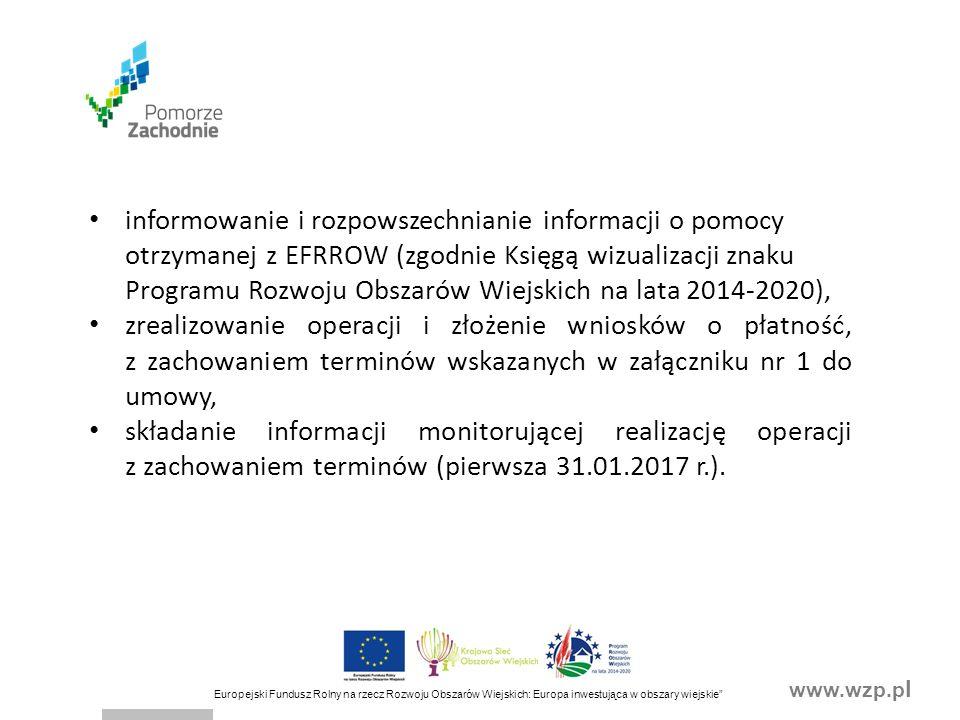 """www.wzp.p l Europejski Fundusz Rolny na rzecz Rozwoju Obszarów Wiejskich: Europa inwestująca w obszary wiejskie"""" informowanie i rozpowszechnianie info"""