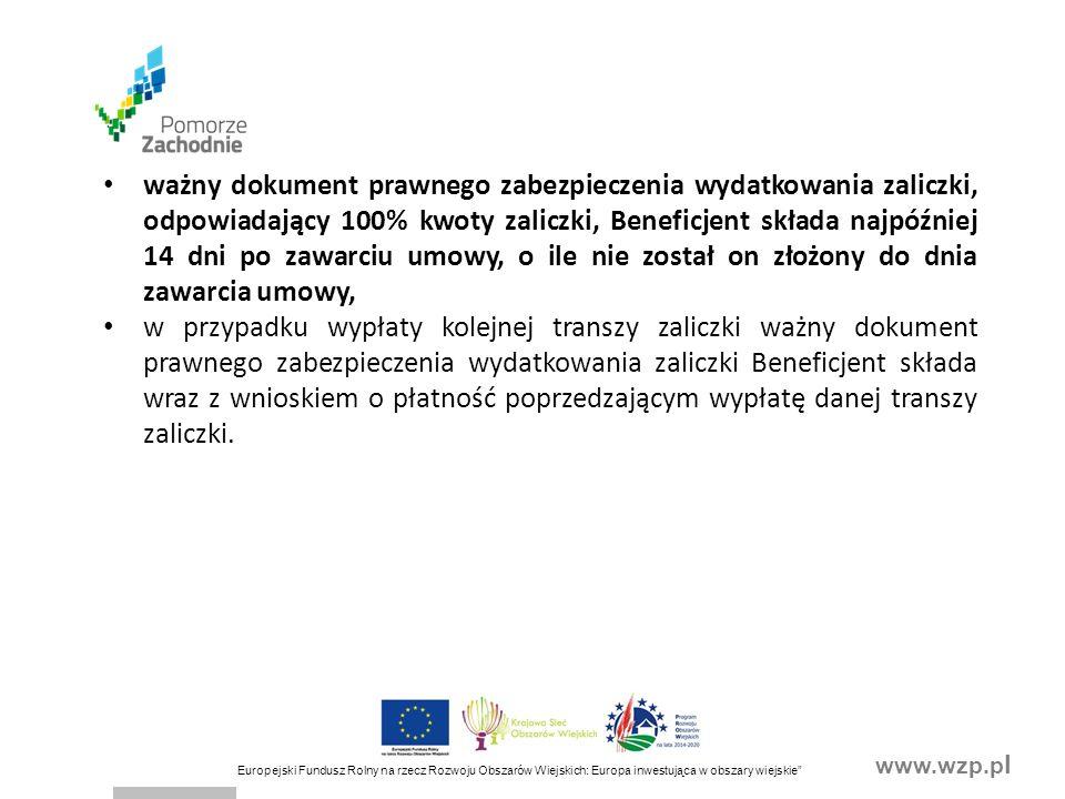 """www.wzp.p l Europejski Fundusz Rolny na rzecz Rozwoju Obszarów Wiejskich: Europa inwestująca w obszary wiejskie"""" ważny dokument prawnego zabezpieczeni"""