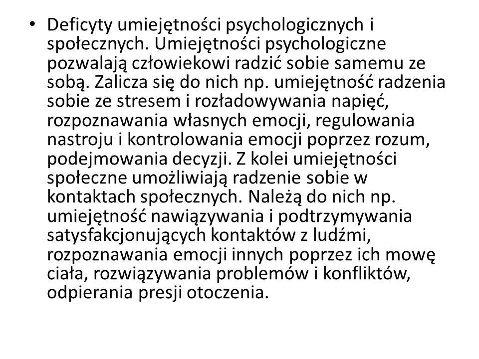 Deficyty umiejętności psychologicznych i społecznych.