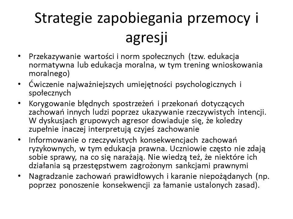 Strategie zapobiegania przemocy i agresji Przekazywanie wartości i norm społecznych (tzw.