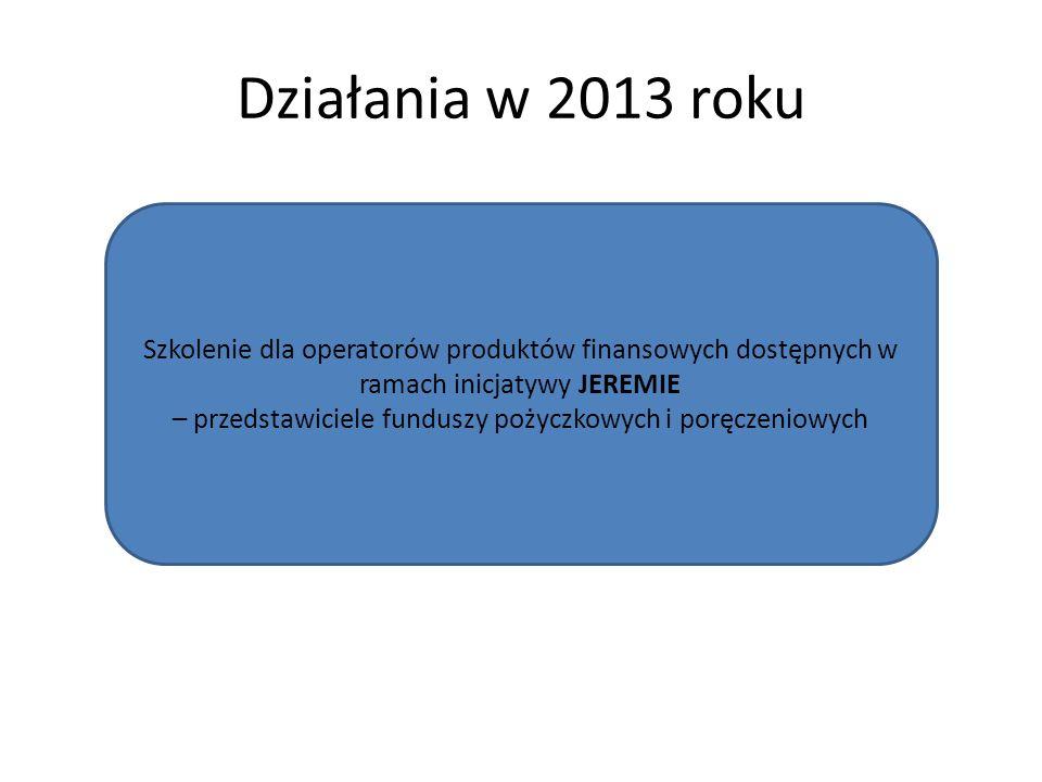 Działania w 2013 roku Szkolenie dla operatorów produktów finansowych dostępnych w ramach inicjatywy JEREMIE – przedstawiciele funduszy pożyczkowych i poręczeniowych