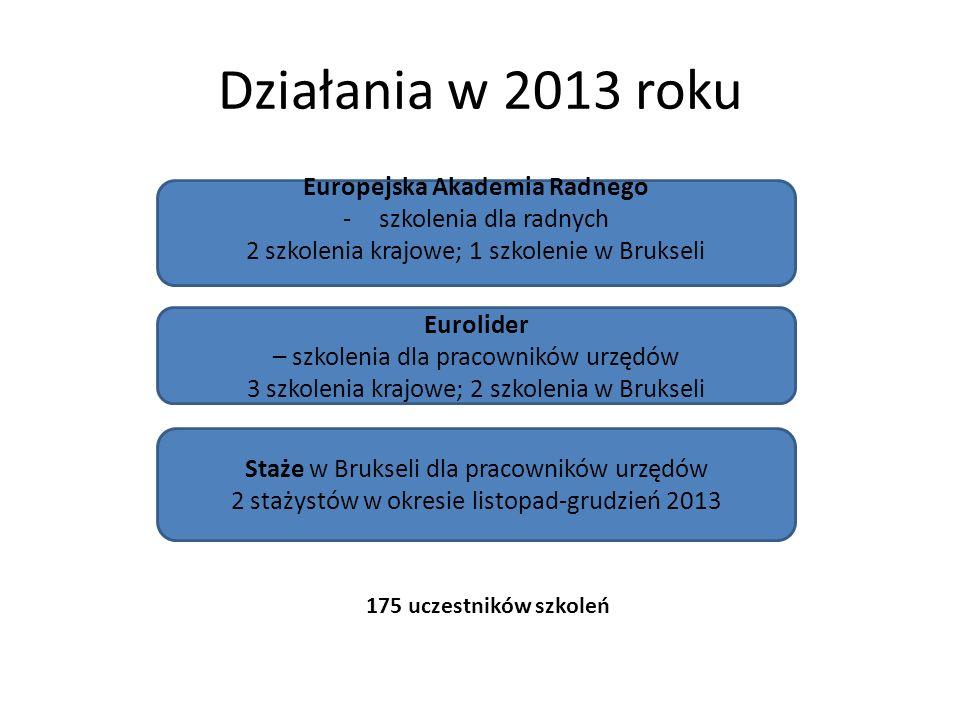 Działania w 2013 roku Europejska Akademia Radnego -szkolenia dla radnych 2 szkolenia krajowe; 1 szkolenie w Brukseli Staże w Brukseli dla pracowników urzędów 2 stażystów w okresie listopad-grudzień 2013 Eurolider – szkolenia dla pracowników urzędów 3 szkolenia krajowe; 2 szkolenia w Brukseli 175 uczestników szkoleń