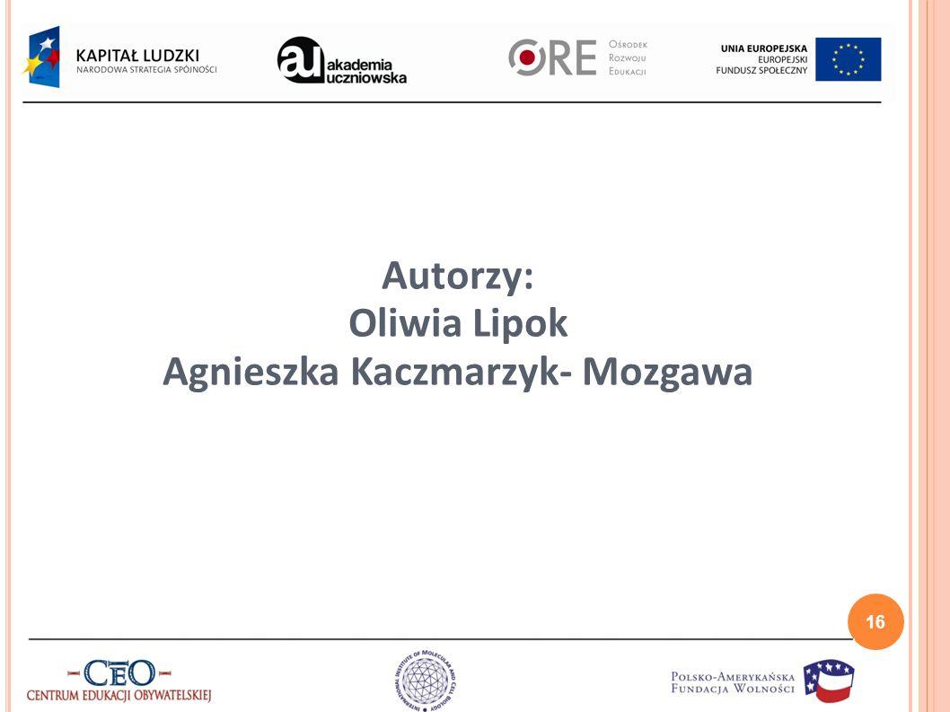 Autorzy: Oliwia Lipok Agnieszka Kaczmarzyk- Mozgawa 16