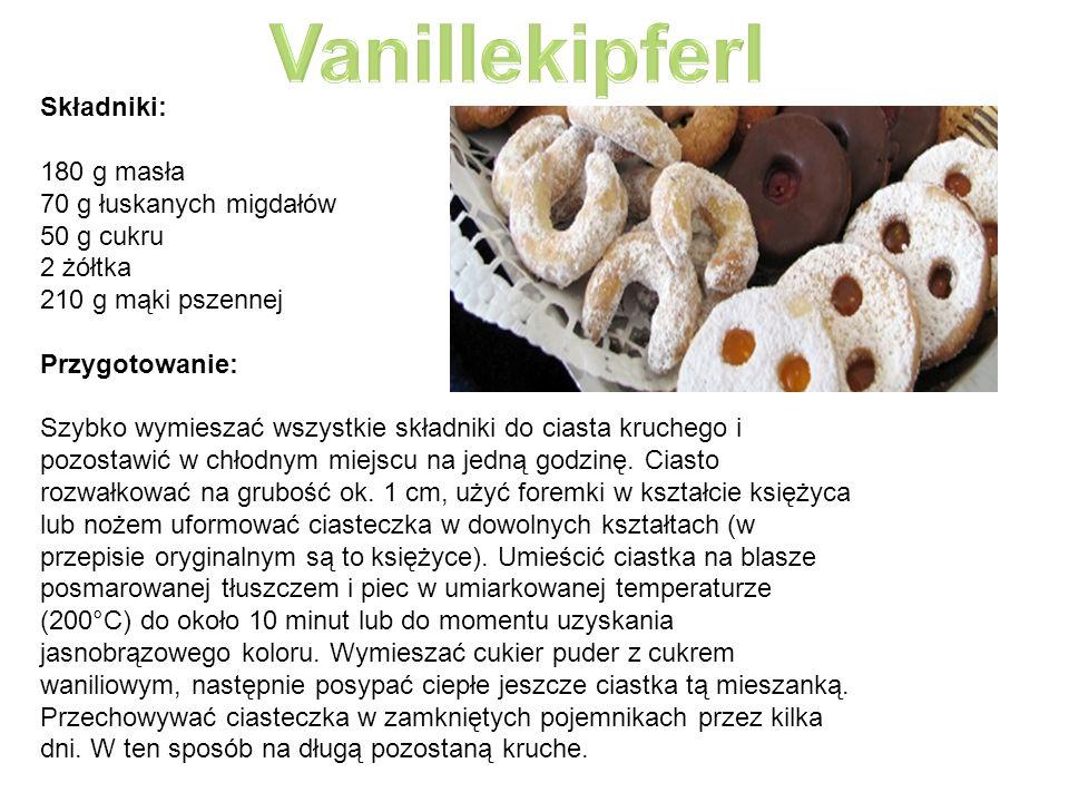 Składniki: 180 g masła 70 g łuskanych migdałów 50 g cukru 2 żółtka 210 g mąki pszennej Przygotowanie: Szybko wymieszać wszystkie składniki do ciasta kruchego i pozostawić w chłodnym miejscu na jedną godzinę.