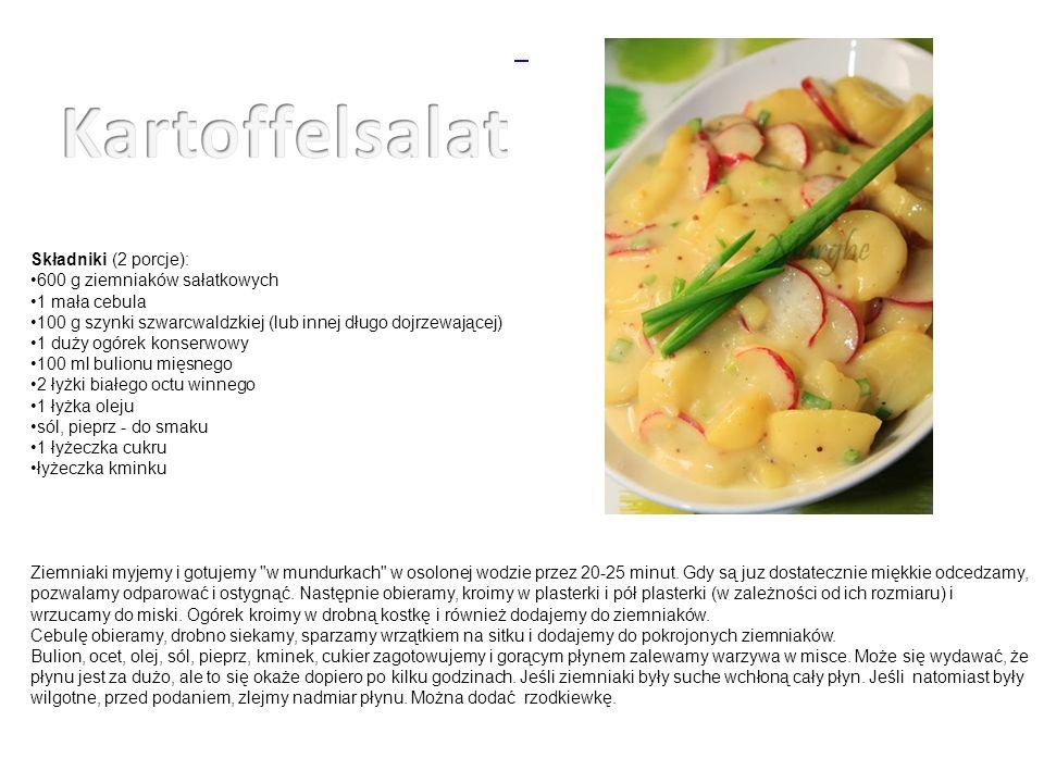 Składniki (2 porcje): 600 g ziemniaków sałatkowych 1 mała cebula 100 g szynki szwarcwaldzkiej (lub innej długo dojrzewającej) 1 duży ogórek konserwowy 100 ml bulionu mięsnego 2 łyżki białego octu winnego 1 łyżka oleju sól, pieprz - do smaku 1 łyżeczka cukru łyżeczka kminku Ziemniaki myjemy i gotujemy w mundurkach w osolonej wodzie przez 20-25 minut.