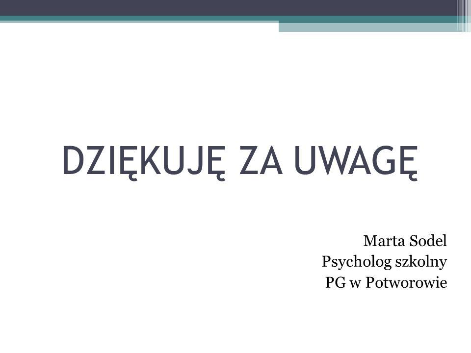 DZIĘKUJĘ ZA UWAGĘ Marta Sodel Psycholog szkolny PG w Potworowie